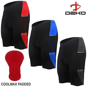 DEKO Mens Cycling Shorts Anti-Bac Coolmax Padded Cycle MTB Bicycle Short