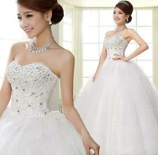 Popular Strapless Beaded Lace Up Wedding Dresses Bridal Ball Gowns Bride Frock