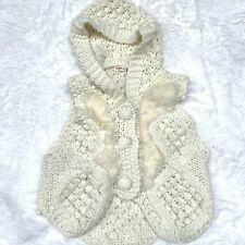 UMGEE VEST WITH RABBIT FUR CHAMPAGNE HOOD BUTTONS SIZE M/L IVORY KNIT BUTTONS