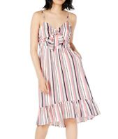 Maison Jules Women Dress Pink Size 10 Striped Tie-Front Flounce-Hem $89- 266