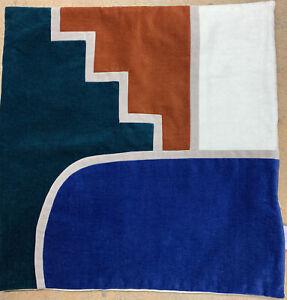 West Elm Velvet Geometric Pillow Cover 18 x 18 Blue Rust Emerald Green