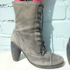 ALLSAINTS Leather Boots UK 4 Eur 37 Womens Lace up Distressed Grey Ankle Boots