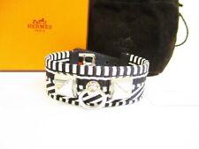 Auth HERMES Black White Canvas Leather Bangle Bracelet Collier de Chien #6972