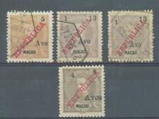 China Macao 1913 surcharges sg.252, 255, 255 shade used and sg.253 MH ungummed
