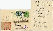 CEYLON KG6 POSTAL STATIONERY to FINLAND POSTAGE DUE FORWARDED GERMANY 1953
