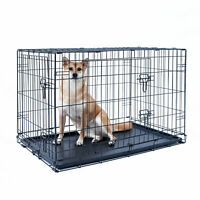 """42"""" Dog Crate Kennel Folding Pet Cage Metal 2 Door With Tray Black"""
