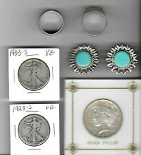 Miscellaneous Silver Jewelry Coin Lot Walking Liberty Halves Peace Dollar Rings