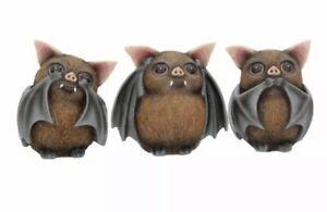 THREE 3 WISE BATS 8.5cm See No Hear No Speak No Evil NEMESIS NOW FREE POSTAGE