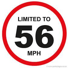 20 x limitato a 56 MPH veicolo limitazione della velocità PARAURTI stampato AUTO FURGONE ADESIVO