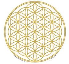Mandala Arts Single Sided Window Sticker: Flower of Life Gold w/White Background