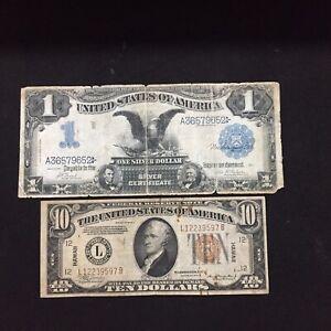 LOTS OF 2 USA 1899 & 10 HAWAII BANKNOTES