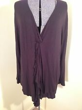LOVELY MY SIZE DEEP CHOCOLATE STRETCH KNIT VNECK L/S TOP WITH RUFFLE TIE SZ S