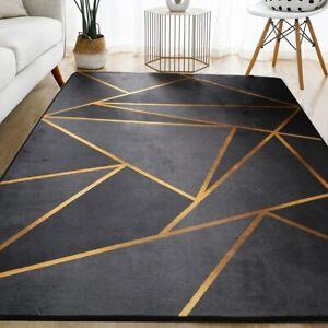 Geometric Carpet Living Room Velvet Rug Kids Bedroom Rugs Sofa Table Decor Mat