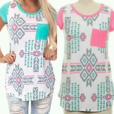 Aztec Tribal Shirt Tunic Top TShirt Sizes Pink Mint White