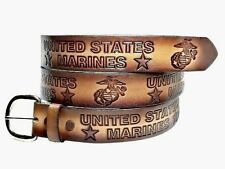 USMC US UNITED STATES CASUAL WEAR MARINE CORPS MILITARY LEATHER BELT W BUCKLE