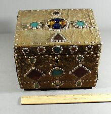 Vintage Studded Brass Covered Wood Box With Colorful Glass Accents