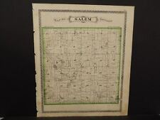 Indiana Steuben County Map Salem Fremont Township  1880 Dbl Side L9#85