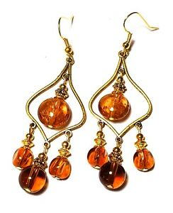 Long Gold Orange Chandelier Earrings Glass Bead Drop Dangle Gypsy Hippy Boho