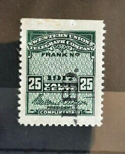 1917 Western Union Telegraph Co US Revenue 25c Stamp #16T52 MH with Gum