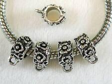 30 pcs Pretty Flowers Tibetan Silver Bail Beads Spacers For European Jewelry USA