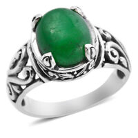 BALI LEGACY 925 Sterling Silver Green Jade Solitaire Ring Jewelry Size 10 Ct 5.1