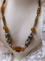 1930s Faux Amber Necklace Glass Batik Egyptian Revival Vintage Jewellery Jewelry