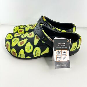 Crocs Men's Sz 8 Unisex Bistro Avocado Print Graphic Work Clogs Shoes NWT