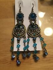 NWT Blue Turquoise Sapphire Aquamarine Vintage Chandelier Crystal Earrings