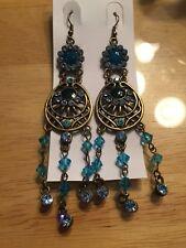Vintage Chandelier Crystal Earrings Nwt Blue Turquoise Sapphire Aquamarine