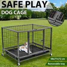 vidaXL Heavy Duty Dog Cage with Wheels Steel Pet Puppy Carrier Crate Enclosure