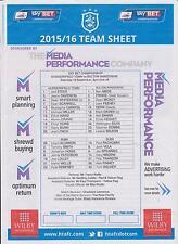 HUDDERSFIELD TOWN v BOLTON WANERERS COLOUR TEAM SHEET 2015-16 CHAMPIONSHIP MATCH