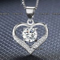 Silver 925 Love Crystal Heart Necklace Pendant Chain 18 Inches Gifts for Her Z3