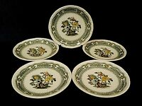 Mason's Green Multicolor Patent Ironstone Saucers Yellow Flowers Scroll-Lot of 5