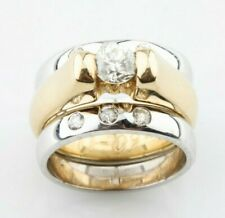 14k Yellow Gold Solitaire Engagement Ring w/ White gold Enhancer TDW 0.75 ct