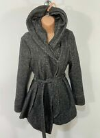WOMENS NEW LOOK SIZE UK 14 GREY MARL KNIT CASUAL WINTER OVERCOAT HOODED JACKET