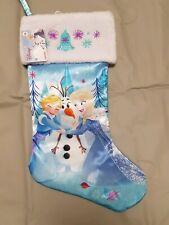 "DISNEY's Frozen ELSA 18""  Blue Satin Embroidered Christmas Stocking"