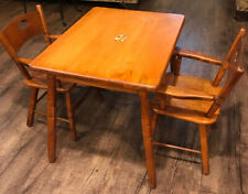 Vintage Midcentury Children's Maple Table and 2 Chair Set Kids Furniture