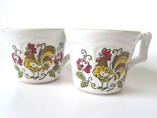 MIKASA Terra Stone Heritage Rooster Cups Mugs # 7125 Qty 2 Japan