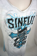 Sinful Affliction Top Size Medium The Buckle Bke Angel Wings Womens Shirt M