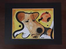 Original Watercolor Ink Wire Fox Terrier Dog art 9 x 12 by David King 2006
