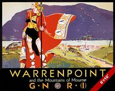 VINTAGE WARRENPOINT NORTHERN IRELAND TRAVEL AD POSTER ART REAL CANVAS PRINT