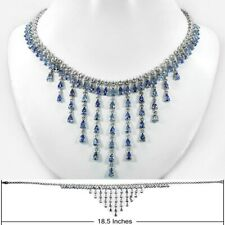 27.30ct t.w 78pcs Natural Tanzanite Necklace With Topaz in 925 Sterling Silver
