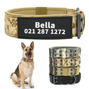 Heavy Duty Tactical Dog Collar with Custom Name for Medium and Large Breed Dogs