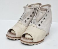 Sorel Women's Joanie Mesh Wedge Open Toe Boots Sea Salt Elk Women's Sz 7 Summer