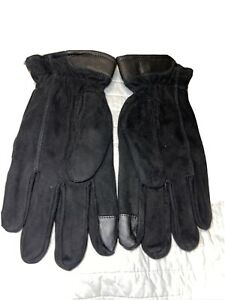 Timberland Mens Seabrook Black Nubuck Cold Weather Winter Gloves L New With Tags