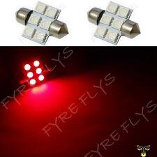 2 Red 31mm 6SMD festoon dome map interior LED light lamp DE3175 3022 3021 2xC3
