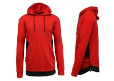 Galaxy by Harvic Men's French Terry Hoodie Sweatshirt - Red/Black - Size:L
