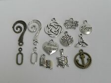 13pcs. Mixed Metal Charms Pendant  & 2 Toggle Clasps Findings