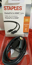 Staples 6ft. DisplayPort to HDMI Cable UltraHD 4K Audio/Video Black 1.8m