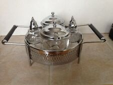 VINTAGE  STAINLESS CHROME AND GLASS CONDIMENT SET Very Nice